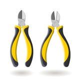 Grupo de dois cortadores laterais amarelos, isolado no fundo branco, ilustração realística Fotografia de Stock Royalty Free