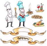 Grupo de dois cozinheiros chefe Imagem de Stock
