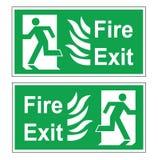 Grupo de dois sinais verdes da evacuação do vetor Direito da saída de emergência e saido ilustração stock