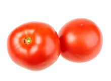 Grupo de dois tomates vermelhos maduros. fotografia de stock