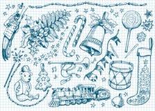 Grupo de doodles do Natal Imagem de Stock