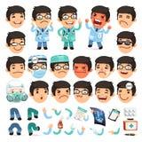 Grupo de doutor Character dos desenhos animados para seu projeto ou Fotos de Stock Royalty Free