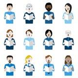 Grupo de doze ícones do cantor do coro ilustração royalty free