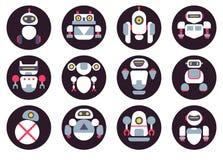 Grupo de doze ícones lisos bonitos dos robôs imagens de stock