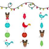 Grupo de doze ícones para o ano novo e o Natal Fotografia de Stock