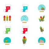 Grupo de doze ícones pelo Natal e o ano novo Foto de Stock
