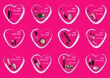 Grupo de doze corações do Valentim e artigos dos cosméticos para promoções para o dia do ` s do Valentim Imagens de Stock