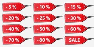 Grupo de doze etiquetas do disconto do vermelho para a venda ilustração do vetor