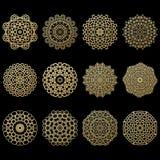 Grupo de doze mandalas do ouro Elemento geométrico do árabe do círculo Fotografia de Stock