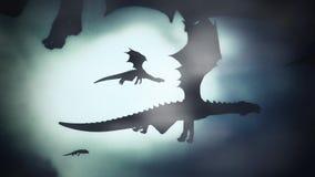 Grupo de dragones que vuelan en un cielo del invierno contra el viento
