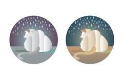 Grupo de duas imagens de um gato desabrigado triste ilustração royalty free