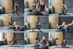 Grupo de duas jovens mulheres que praticam a ioga fotografia de stock