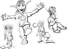 Grupo de duendes adolescentes do campônio ilustração do vetor