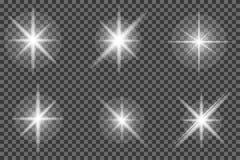 Grupo de efeito da luz de incandescência Estrelas brilhantes, explosão Sol de brilho transparente ilustração stock