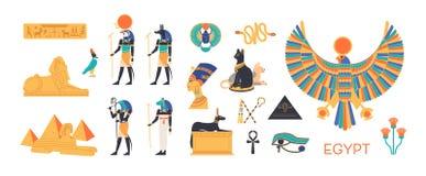 Grupo de Egito antigo - deuses, deidades do panteão egípcio, criaturas mitológicas, animais sagrados, símbolos santamente ilustração do vetor