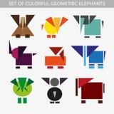 Grupo de elefantes coloridos geométricos Fotografia de Stock Royalty Free