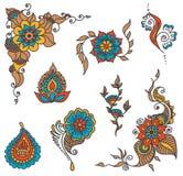 Grupo de elemento da hena da tatuagem Fotografia de Stock