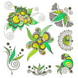 Grupo de elemento da hena da tatuagem Imagem de Stock
