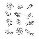 Grupo de elemento floral Fotografia de Stock