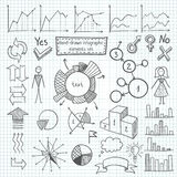 Grupo de elemento infographic desenhado à mão Imagem de Stock