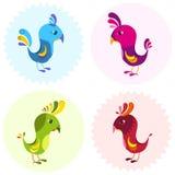 Grupo de elemento de quatro pássaros dos desenhos animados para o projeto Imagens de Stock Royalty Free