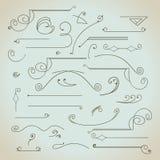 Grupo de elementos caligráfico do projeto do vintage desenhado à mão Imagens de Stock Royalty Free