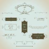 Grupo de elementos caligráfico do projeto do vintage desenhado à mão Imagem de Stock Royalty Free