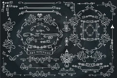 Grupo de elementos caligráfico ondulado do projeto, rodando Fotos de Stock Royalty Free