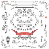 Grupo de elementos caligráficos ondulados do projeto, Imagens de Stock Royalty Free