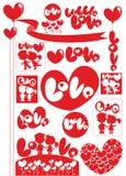 Grupo de elementos claro colorido do amor ilustração do vetor