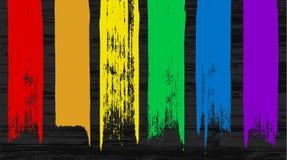 Grupo de 6 elementos coloridos do curso da escova do arco-íris Imagem de Stock Royalty Free