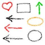 Grupo de elementos com textura da areia do mar, quadro, coração, setas Imagens de Stock Royalty Free