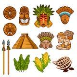 Grupo de elementos culturais antigos étnicos ilustração royalty free