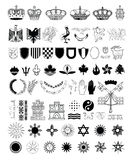 Grupo de elementos da brasão, ilustração do vetor ilustração stock