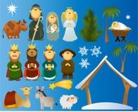 Grupo de elementos da cena do Natal Foto de Stock