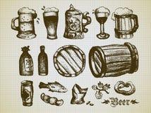 Grupo de elementos da cerveja Imagem de Stock
