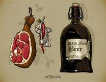 Grupo de elementos da cerveja Imagens de Stock Royalty Free