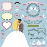 Grupo de elementos da decoração do convite do casamento com pares de beijo ilustração stock