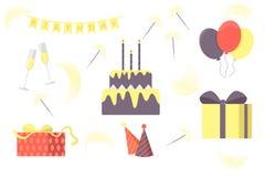 Grupo de elementos da festa de anos do vetor Balões brilhantes, bandeiras, chuveirinhos, bolo, presentes, calotas, vidros de vinh ilustração royalty free