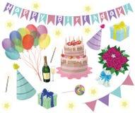 Grupo de elementos da festa de anos do vetor Eps 10 ilustração royalty free