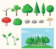 Grupo de elementos da floresta Fotografia de Stock Royalty Free