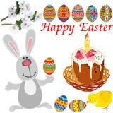 Grupo de elementos da Páscoa: coelho bonito, galinha, ramos de florescência, Páscoa em uma cesta de vime com uma vela ilustração royalty free