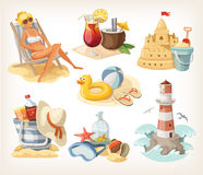 Grupo de elementos da praia do verão ilustração stock
