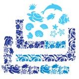 Grupo de elementos, de cantos e de beiras com vida subaquática Fotografia de Stock