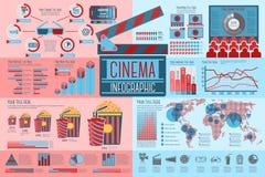 Grupo de elementos de Infographic do cinema com ícones Fotografia de Stock
