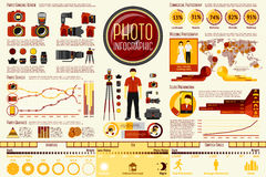 Grupo de elementos de Infographic do trabalho do fotógrafo com Imagens de Stock