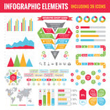 Grupo de elementos de Infographic (que incluem 36 ícones) - Vector a ilustração do conceito Fotos de Stock