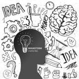 Grupo de elementos de pensamento das garatujas Imagem de Stock