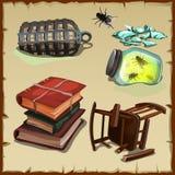 Grupo de elementos de um escritório ou de uma biblioteca abandonada Imagens de Stock Royalty Free