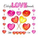 Grupo de elementos de vidro cor-de-rosa do amor Imagem de Stock
